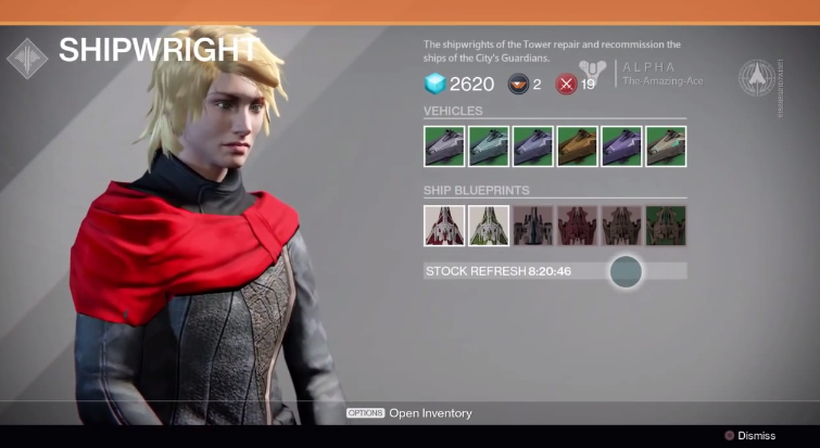 A screenshot of the shipwright in Destiny. The computer-animated white woman has blond hair, a leather jacket and a red sash over her shoulders. The screen also shows options for purchasing vehicles.