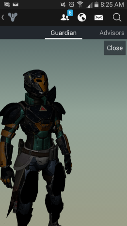 A screenshot of a video game character in futuristic full-body armor.